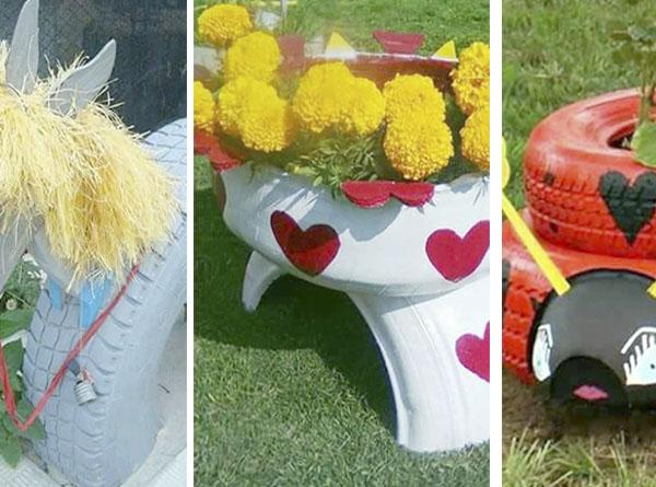 Decorar el jardín con ruedas.