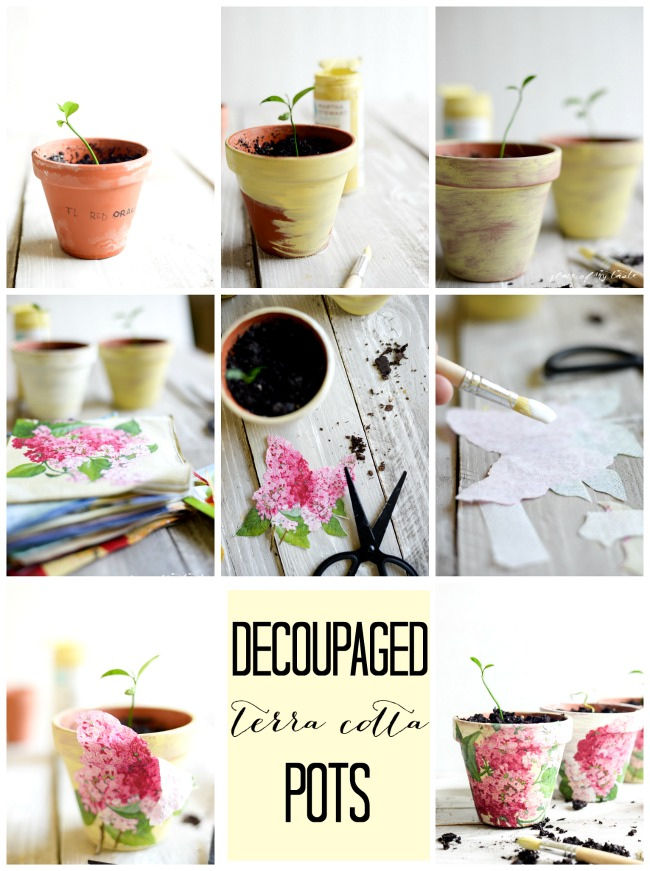 Decorar macetas con decoupage