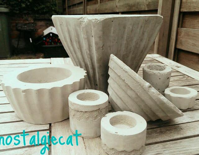 Macetas de cemento hechas a mano