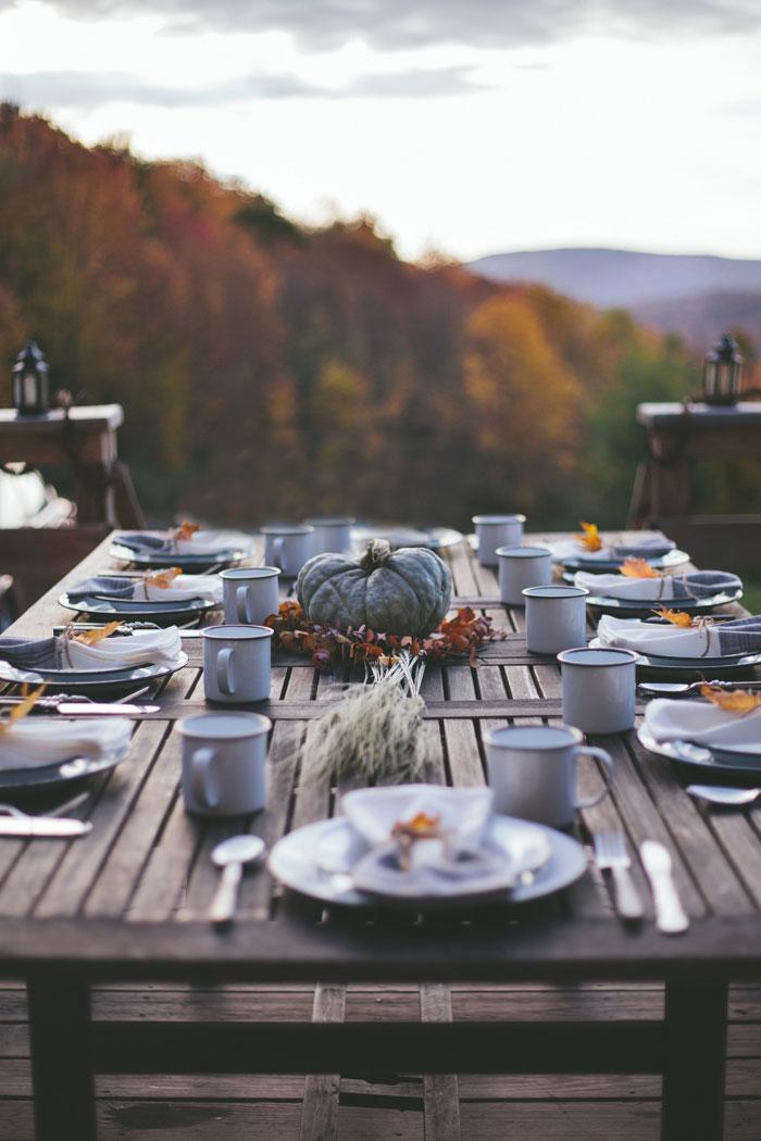 Mesa de exterior para otoño