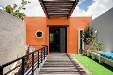 colores exteriores exterior casas fachadas combinaciones naranja paredes pared pintar cemento grises casa patios pinturas pintadas colors dos naranjas gris