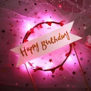 decorazione torta led rosa