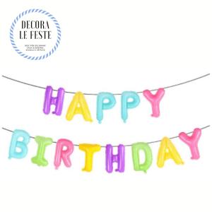 scritta palloncini happy birthday
