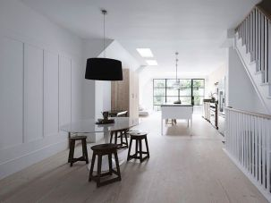 Kitchen/dining room with skylights
