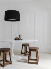 Dining room with vintage stools