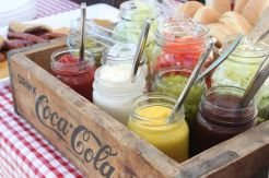 13. Condiments in antique Mason Jars