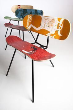 3. Repurpose chair frame and skateboards
