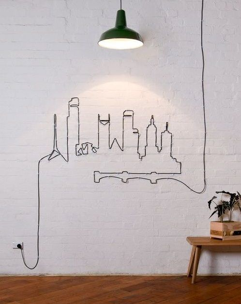 DIY artístico con el cable de una lámpara