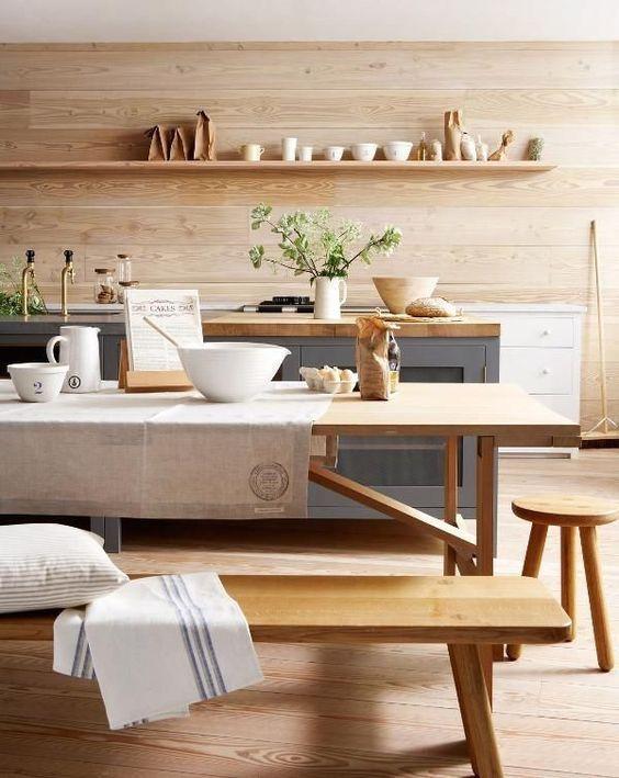 estilo natural con madera en paredes y mobiliario