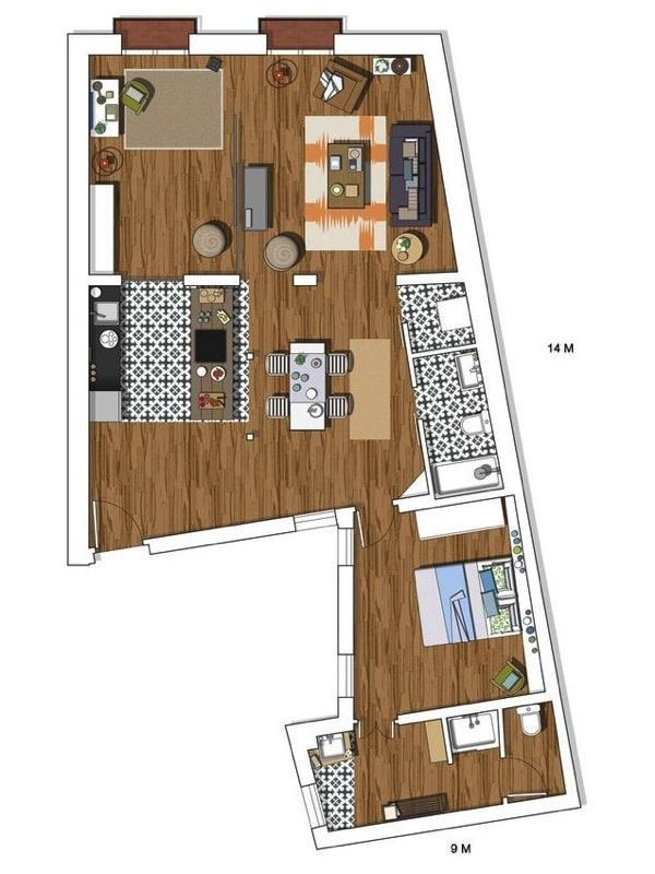 plano loft 100m2 en Madrid