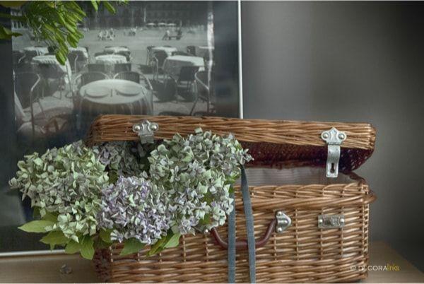 autumn garland in a mid century picnic basket