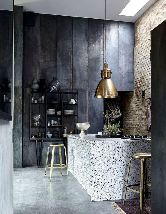 decoralinks | cocina combinada con terrazo y metales