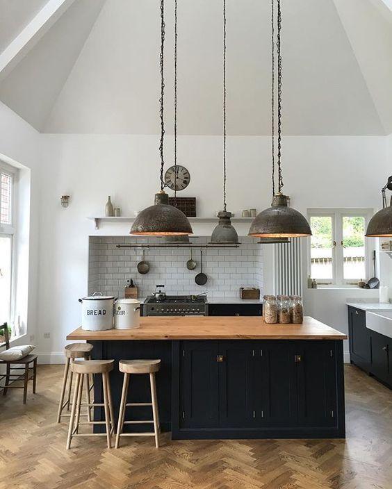 decoralinks | cocina negra rustic chic