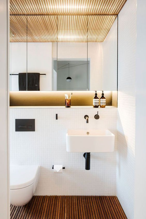 decoralinks | armario con espejos sobre murete - bathroom