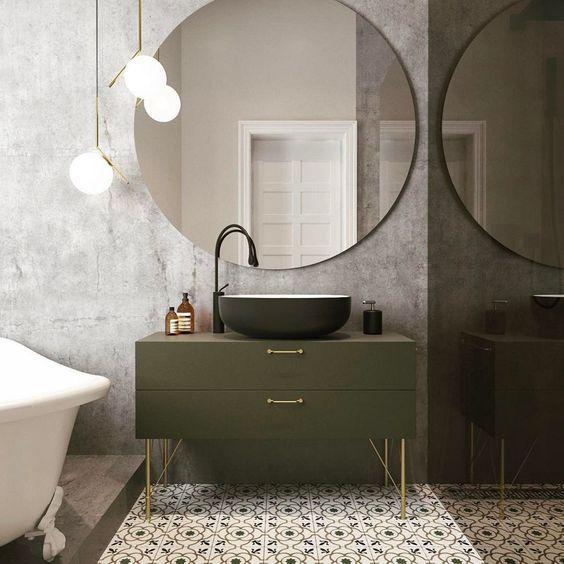 decoralinks | organizar el baño - cajones amplios con lavabo exento y espejo redondo XXL