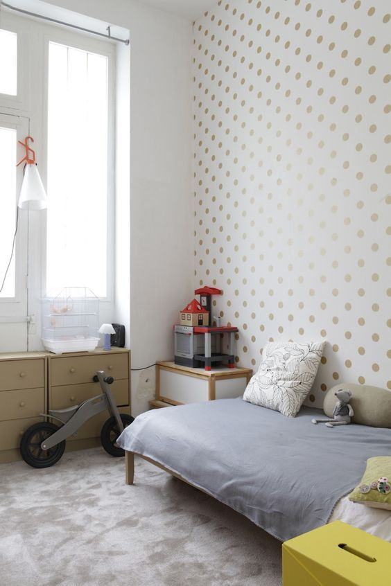 decoralinks | wallpaper golden dots kids room