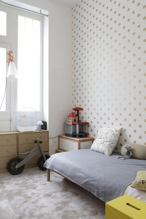 decoralinks | wallpaper golden dots kids room