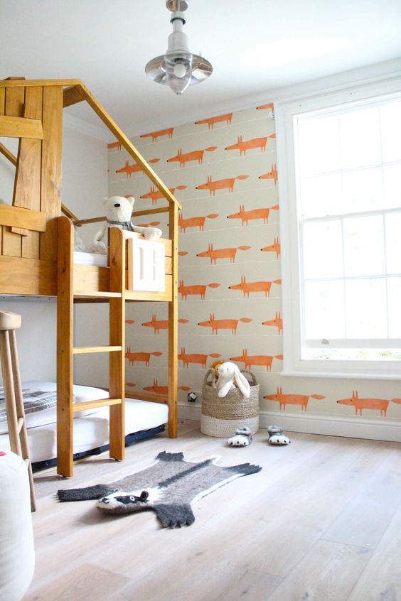 decoralinks | playful bedroom with kids wallpaper full of orange foxes