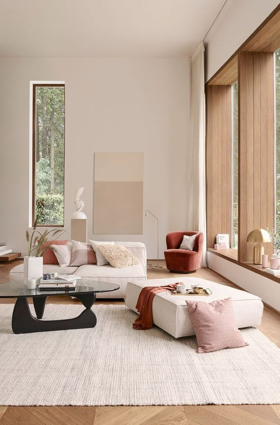 decoralinks   living room painted in neutral tones with high ceilings