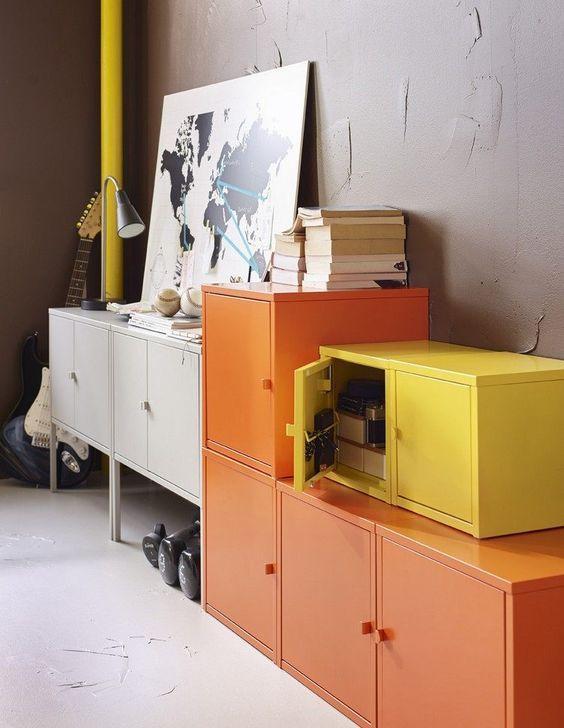 decoralinks   yellow, orange and white lockers from Ikea