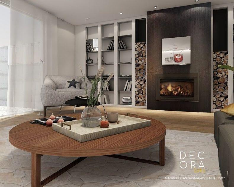 decoralinks | reforma de adosado en Madrid - salon con chimenea
