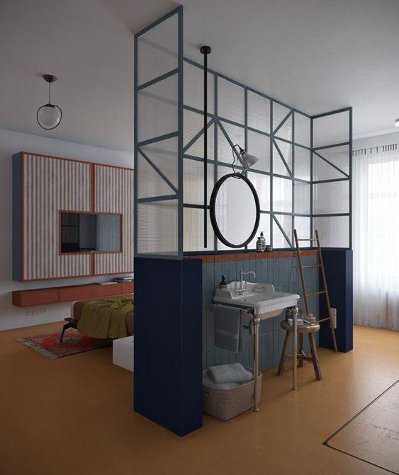 decoralinks | separa ambientes con estructura medio tabique y panel de cristal
