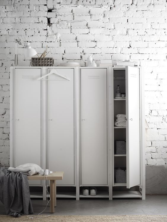 decoralinks   white locker storing clothes and shoes