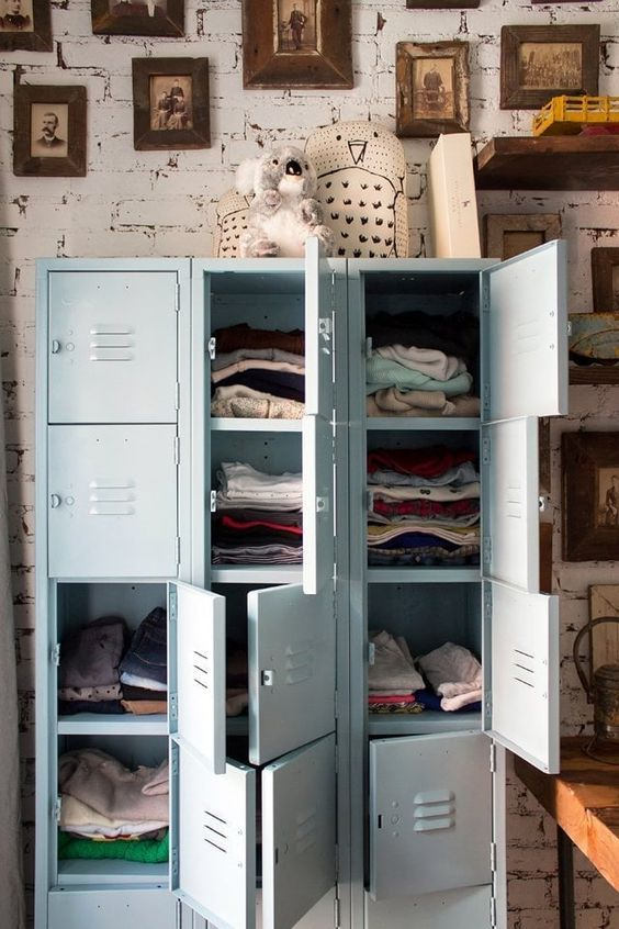 decoralinks | repurposed pale blue locker storing baby clothes