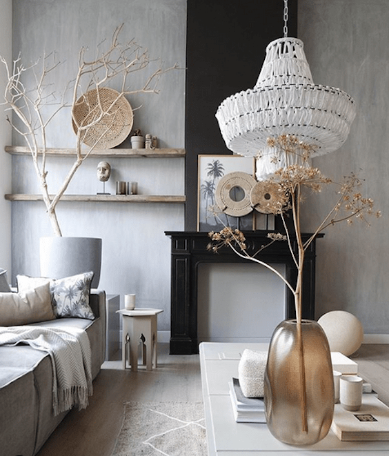 decoralinks | salon blanco y negro con baldas