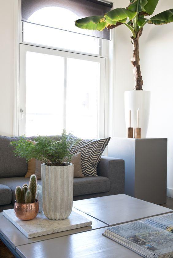 decoralinks | rincon salon con sofa gris y bananero