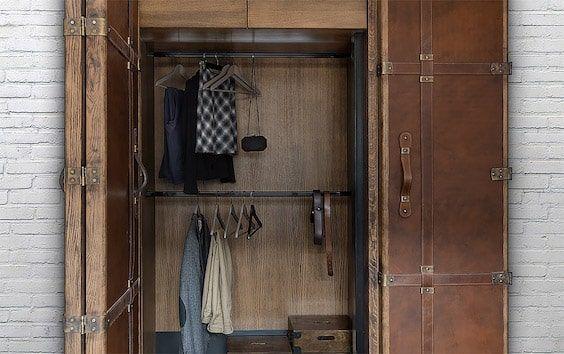 decoralinks   apartamento loft industrial - armario a medida con look de maleta antigua