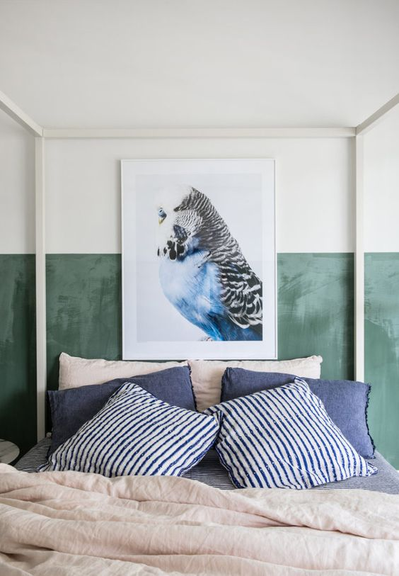 decoralinks| color vestir cama verano - verde y azul