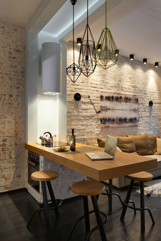 decoralinks | isla de cocina con placa y mesa