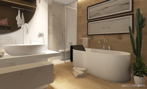 decoralinks   bathroom design using marble and wood - by Decoralinks Studio