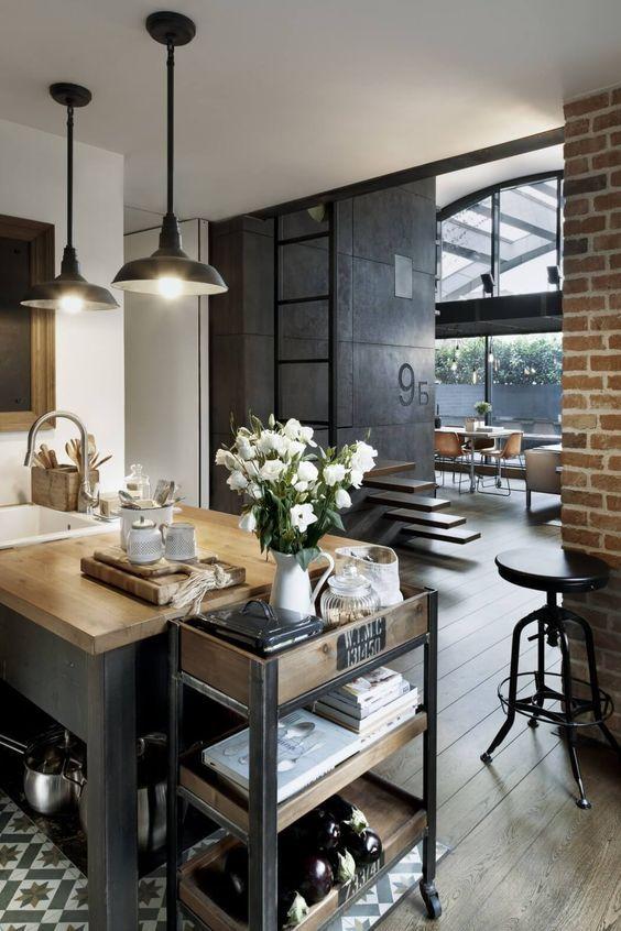 decoralinks | apartamento loft industrial - cocina con suelo hidraulico