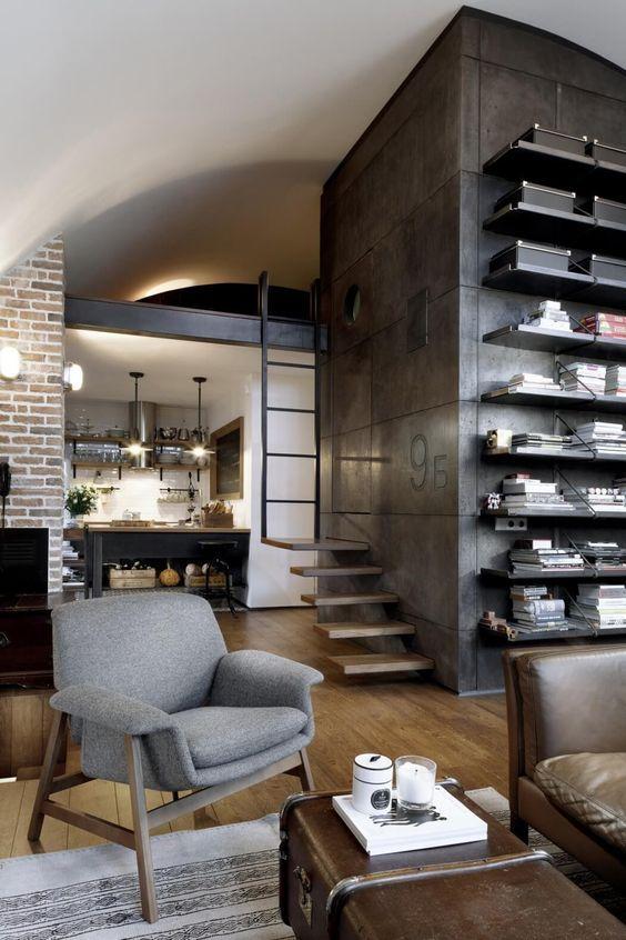 decoralinks | apartamento loft industrial - cubo revestido de hormigon en salon