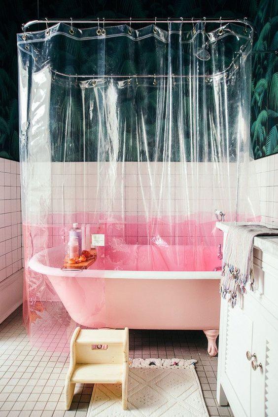 decoralinks   combinaciones color antidrepresivas ducha con cortinas transparentes y base rosa