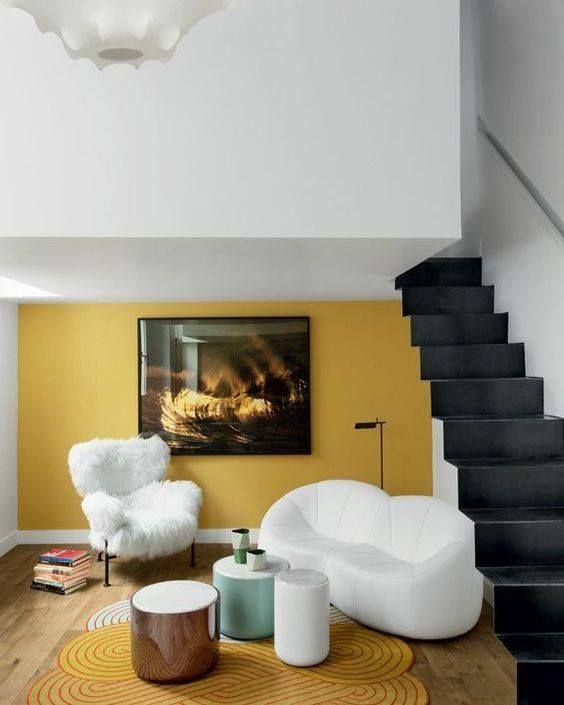 decoralinks   combinaciones color antidrepresivas - pared amarillo mostaza en salon