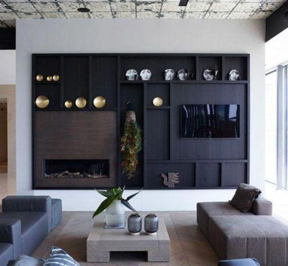 decoralinks   panel decorativo como soporte al televisor y la chimenea, en tono oscuro
