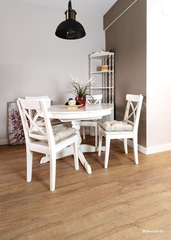 decoralinks | lampara de leroy merlin y muebles de Ikea. Rinconera reciclada y pintada.
