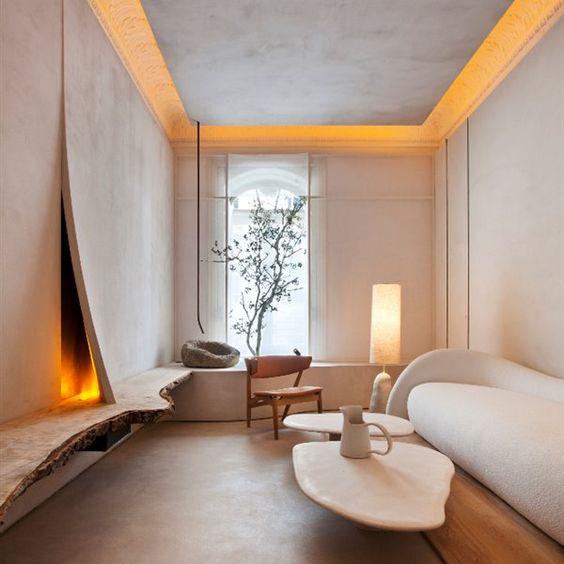 decoralinks   #casadecor #salon #organico #microcemento #chimeneadegas #lornadesantos #raw