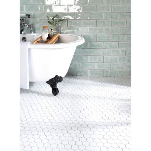 white large honeycomb floor mosaic cs