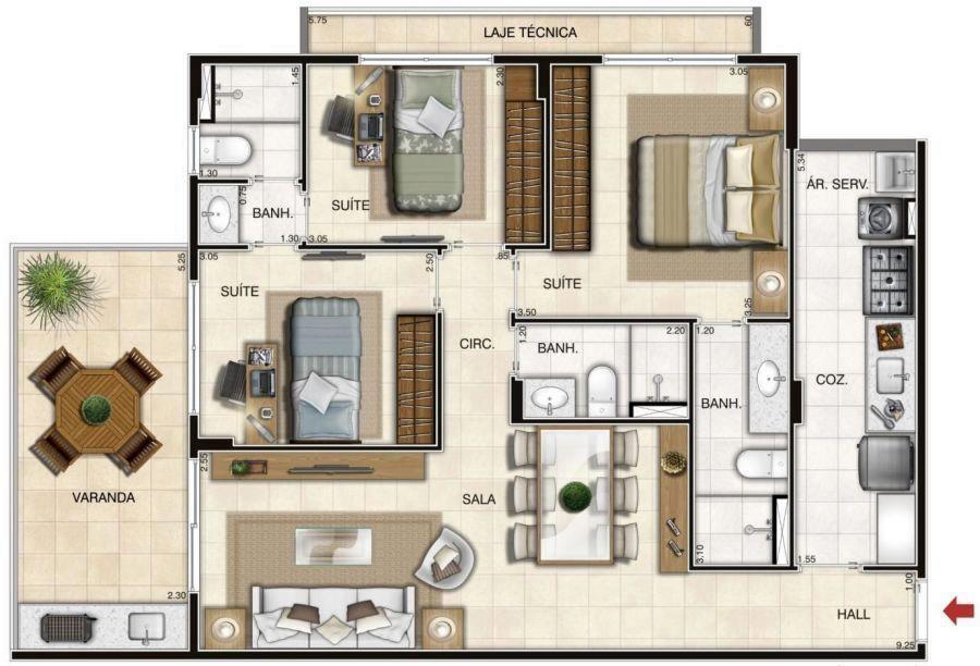 Plantas de apartamentos com 3 quartos  Decorando Casas