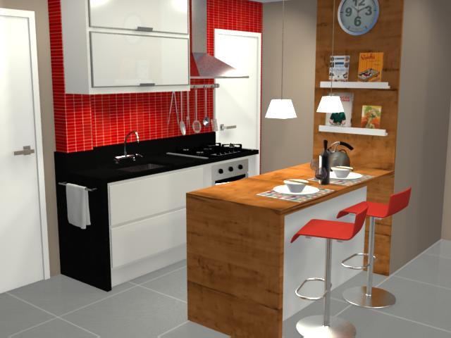 Projeto de cozinha americana simples e aconchegante