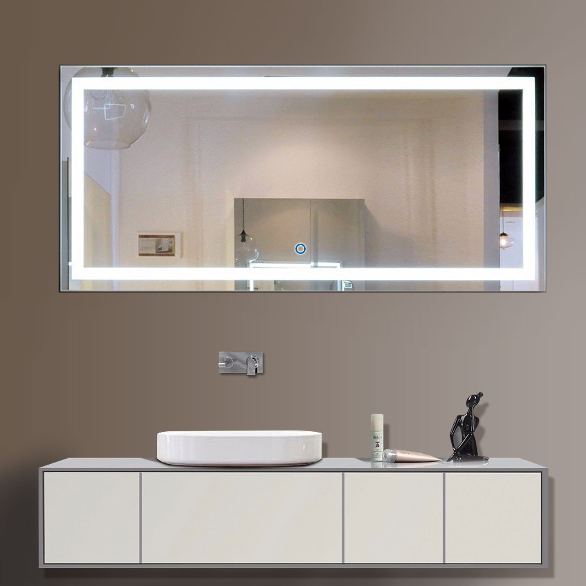 60 Inch Bathroom Mirror 60 X 28 In Horizontal Led Bathroom Silvered Mirror With