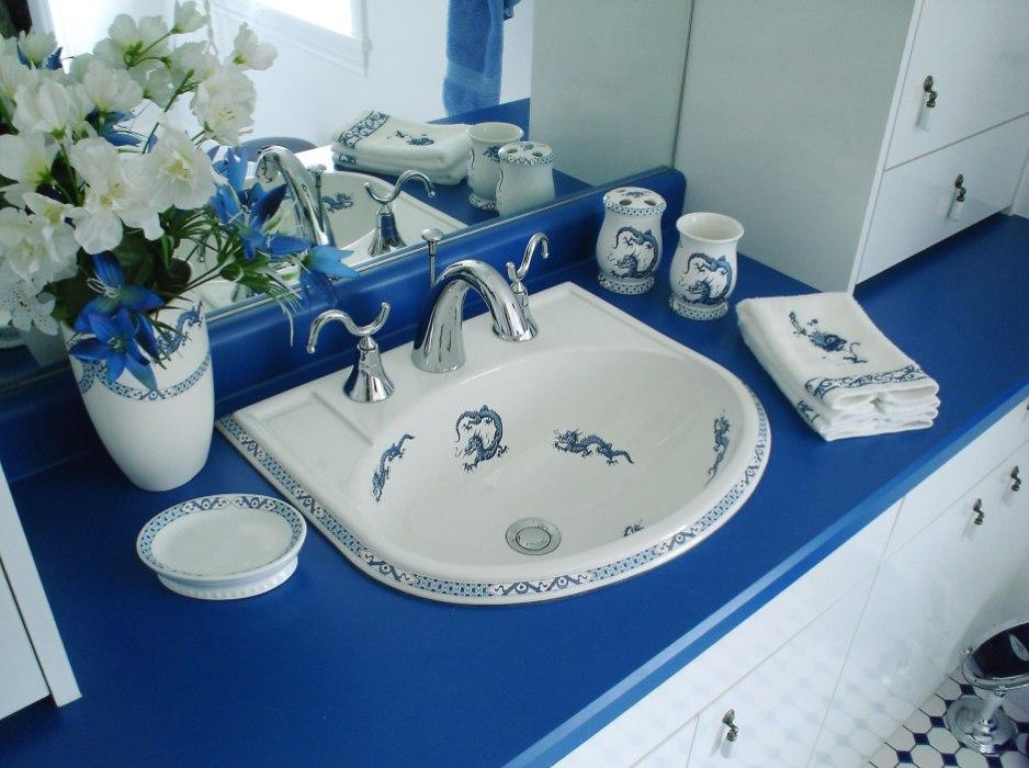 Oriental Dragons in a Blue  White Bathroom  Decorated Bathroom Blog