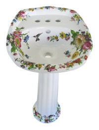Floral Scented Garden Design Hand Painted Bath Basins