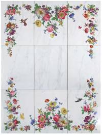 Floral Tile Mural & Accessories | Decorated Bathroom Blog