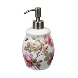 Heirloom Roses deisgn painted on a white porcelain soap dispenser.
