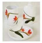 Bird of Paradise hand painted ceramic bath accessories